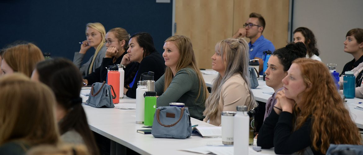 Dietetic interns from Montana State University listen to a presentation at Blue Cross and Blue Shield of Montana headquarters in Helena.