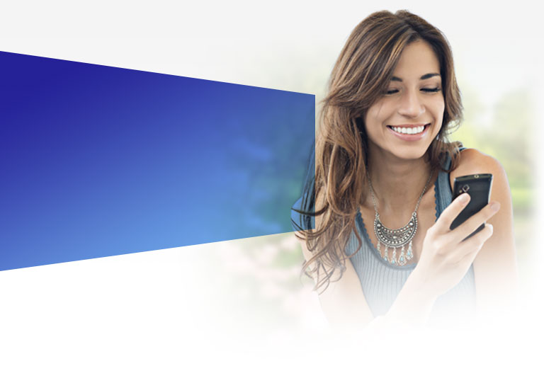Blue Access for Members Background - Woman checking her mobile phone